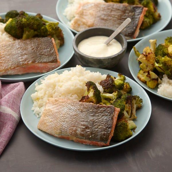 Crispy Salmon with Roasted Broccoli & Meyer Lemon Aioli
