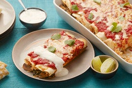 Chipotle-Spiced Enchiladas with Mushrooms & Lime Sour Cream