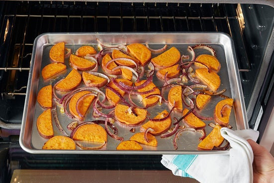 Roast the sweet potato & onion: