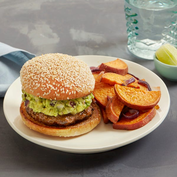 Guacamole Burgers with Roasted Red Onion & Sweet Potato