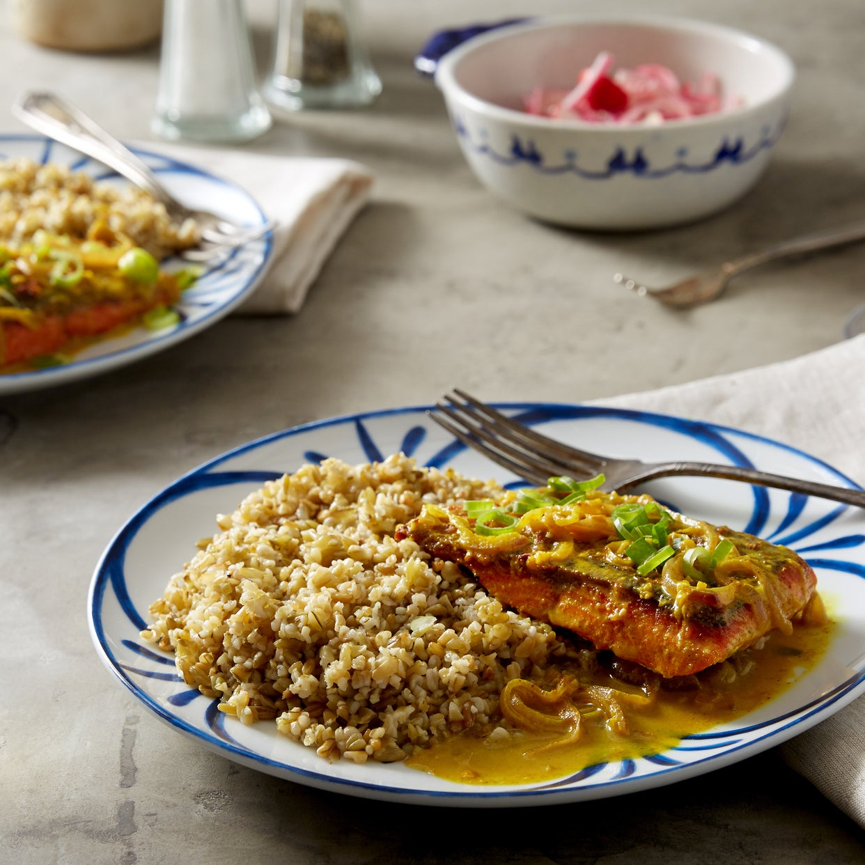 Indonesian-Spiced Salmon with Freekeh & Marinated Radishes