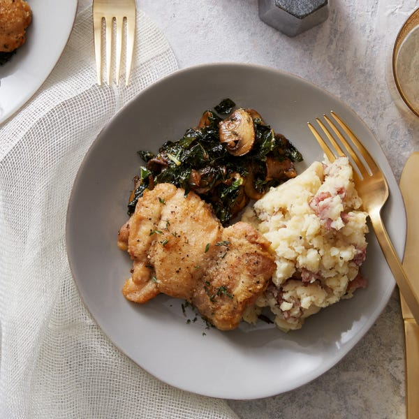 Seared Chicken & Mashed Potatoes with Kale, Mushrooms & Verjus
