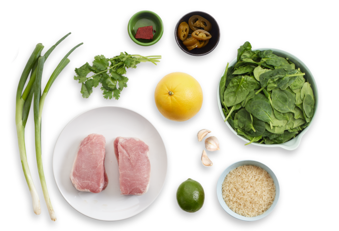 Pibil-Style Pork with Spinach & Citrus Rice ingredients