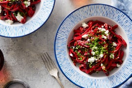 Fresh Fettuccine with Beet, Goat Cheese & Poppy Seeds