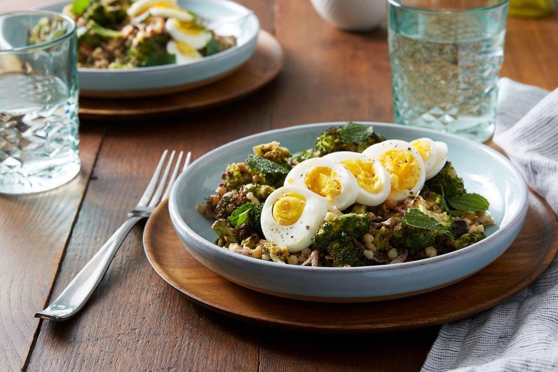 Blue apron za'atar - Za Atar Roasted Broccoli Salad With Fregola Sarda Pecorino Cheese Tahini Dressing