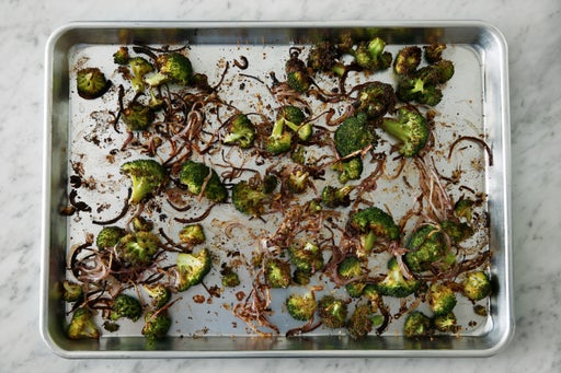Roast the broccoli & onion: