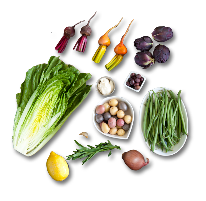 Baby Vegetable Nicoise Salad with Creamy Dressing & Tarragon ingredients