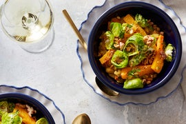 Butternut Squash & White Bean Stew with Gremolata & Marinated Brussels Sprouts