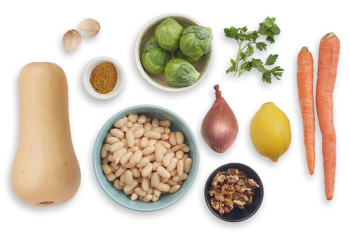 Butternut Squash & White Bean Stew with Gremolata & Marinated Brussels Sprouts ingredients