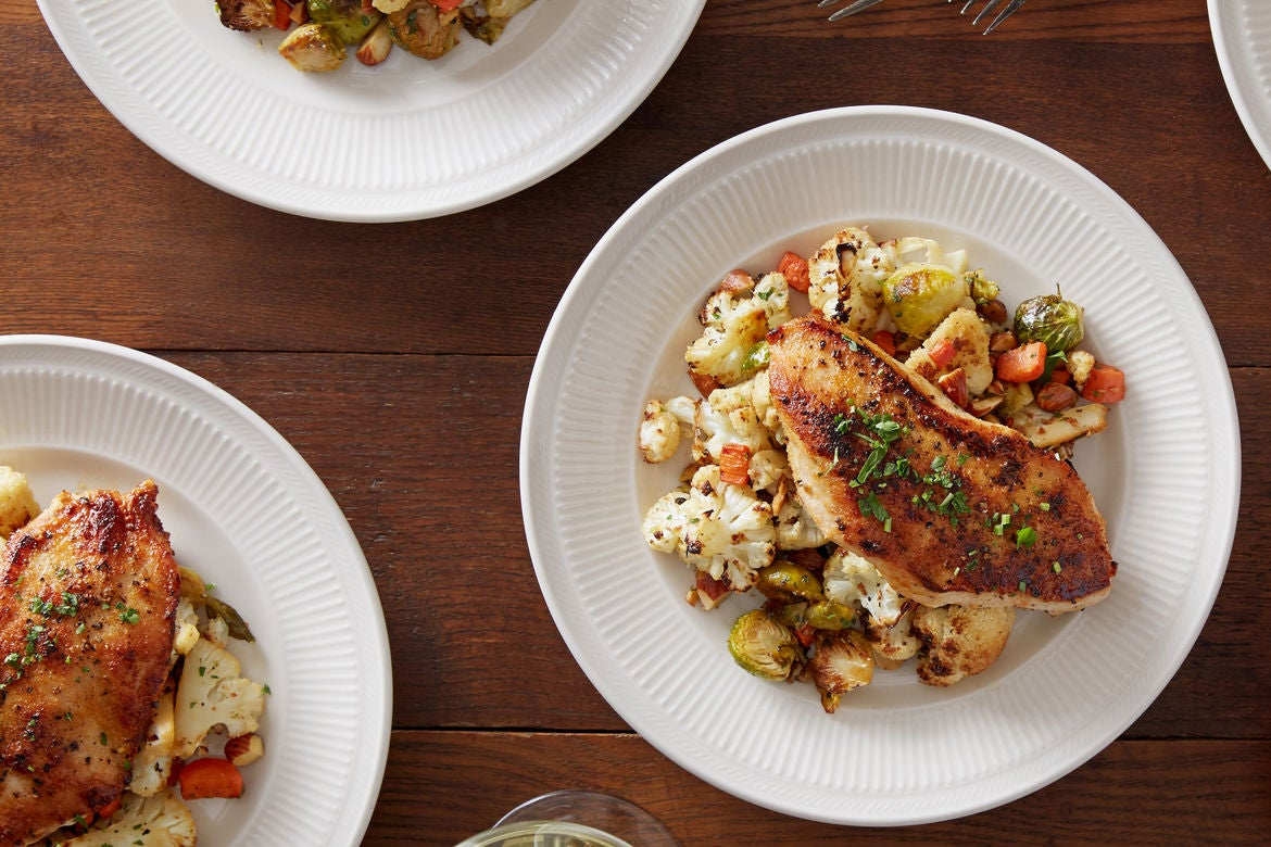 Honey-Mustard Chicken with Roasted Winter Vegetables