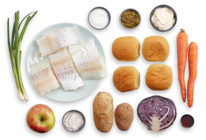 Crispy Cod Sandwiches with Red Cabbage & Apple Slaw