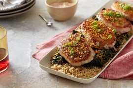 Pork Chops & Garlic Picada with Brown Rice & Spinach