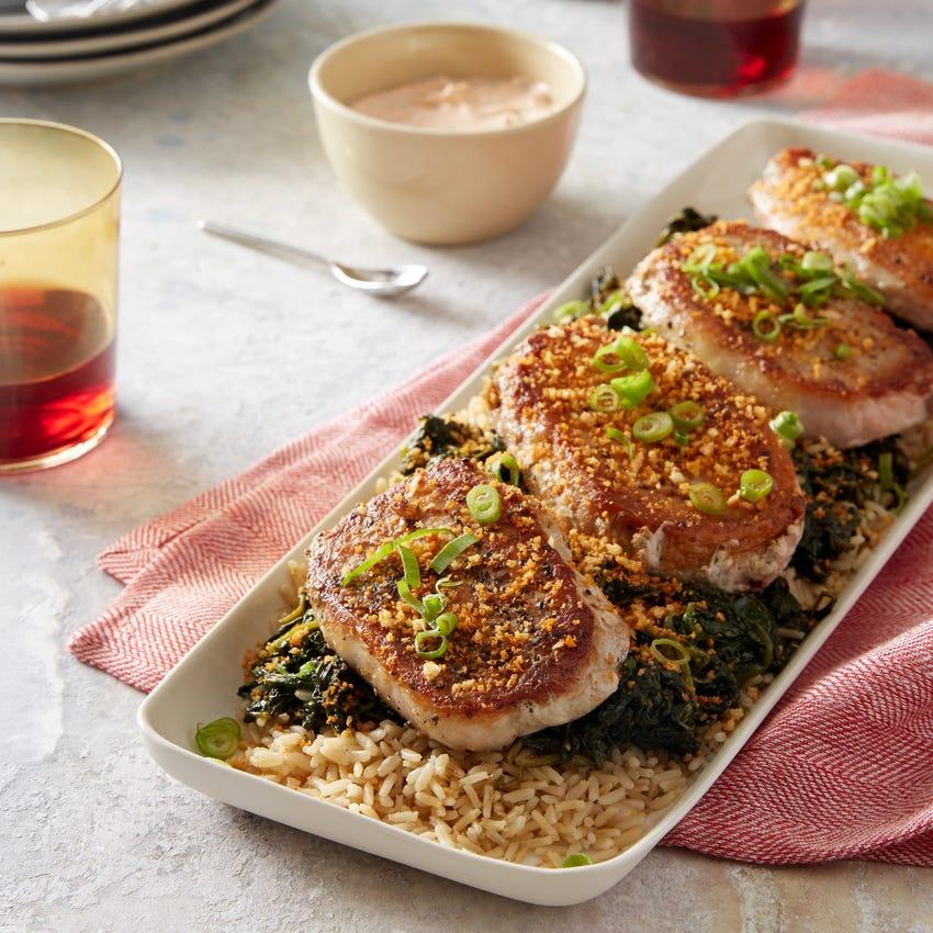 Pork Chops & Garlic Picada with Brown Rice & Spinach