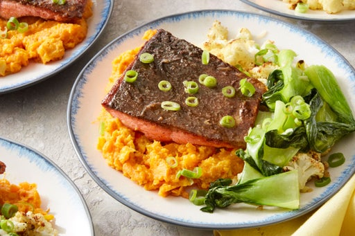 MasterChef Junior Chinese Five-Spice Salmon with Roasted Cauliflower & Mashed Sweet Potatoes