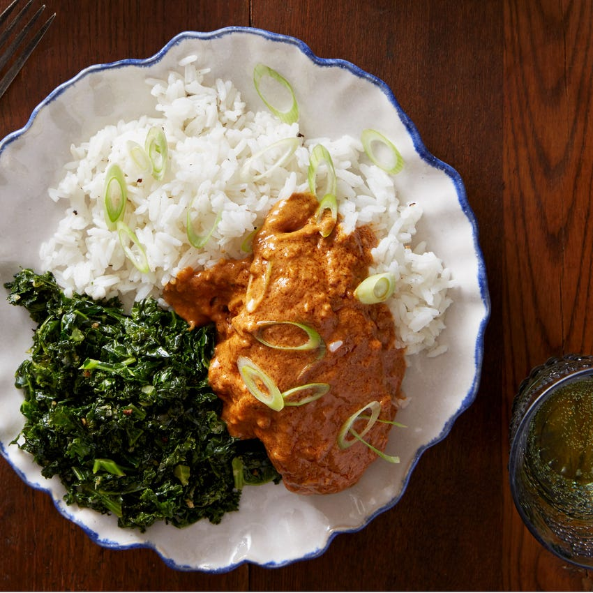 West African Peanut Chicken with Sautéed Kale & Rice