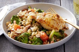 Orange & Mirin-Glazed Cod with Warm Barley & Broccoli Salad