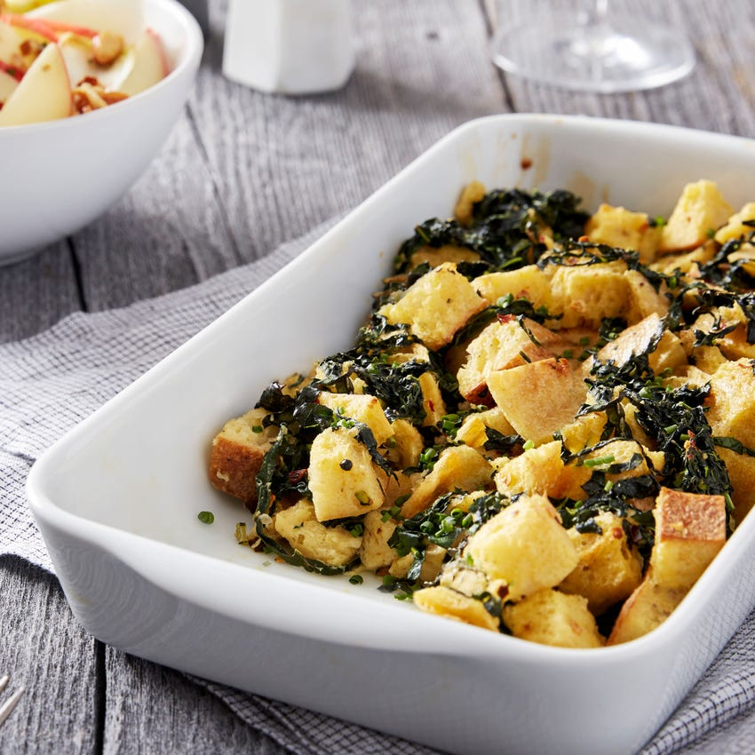 Creamy Ricotta & Lacinato Kale Strata with Apple & Endive Salad