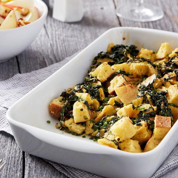 Creamy Ricotta & Lacinato Kale Strata with Apple & Endive Salad