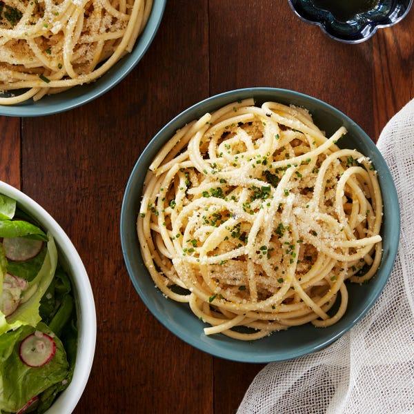 Meyer Lemon Bucatini with Marinated Radish & Butter Lettuce Salad