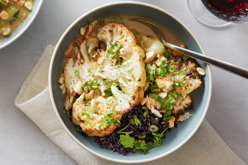 Roasted Cauliflower Steaks with Curried Bok Choy & Black Rice
