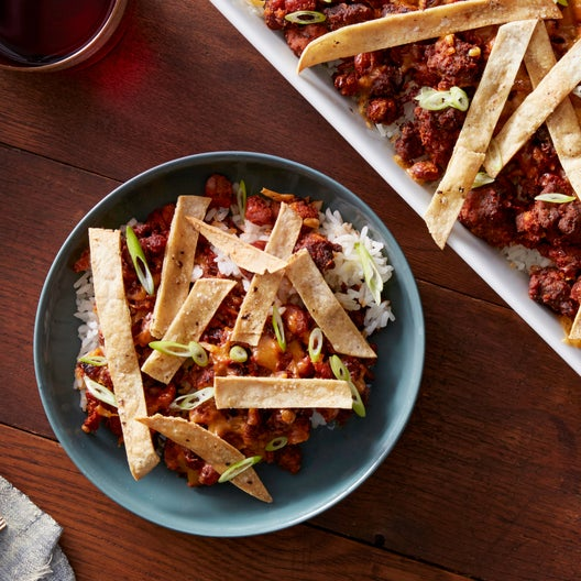 Mexican-Spiced Beef & Rice Casserole with Crispy Tortilla Strips