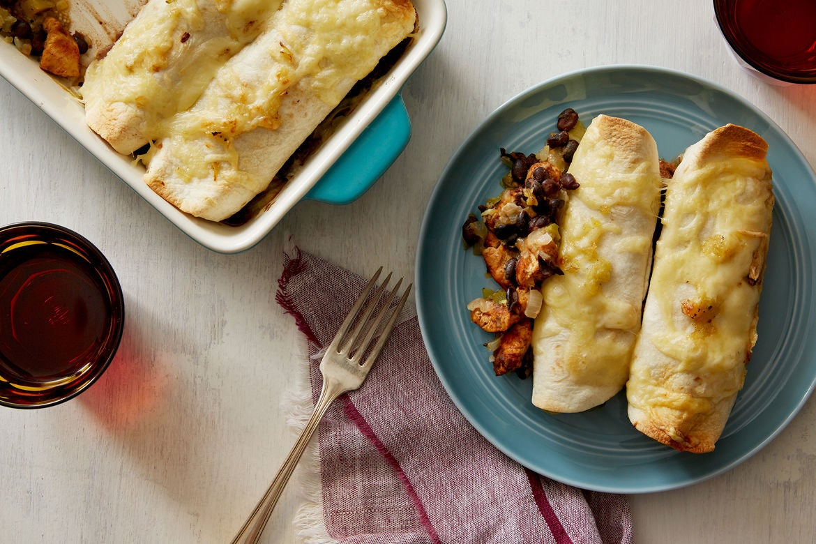Cheesy Chicken & Black Bean Enchiladas with Salsa Verde