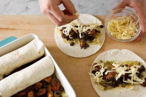 Assemble the enchiladas: