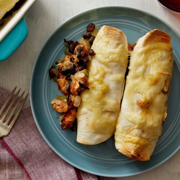 Cheesy Chicken & Black Bean Enchiladas with Salsa Verde