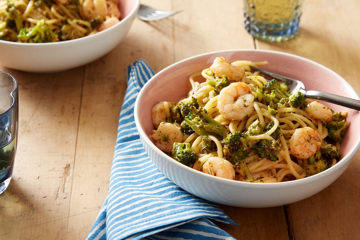 Creamy Shrimp Spaghetti with Broccoli & Meyer Lemon