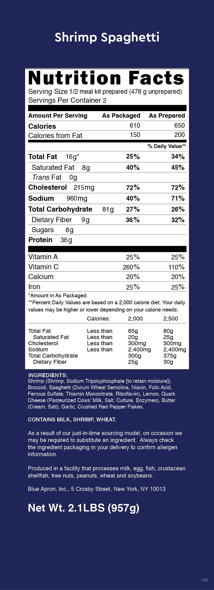 Blue apron unhealthy - Nutrition Label