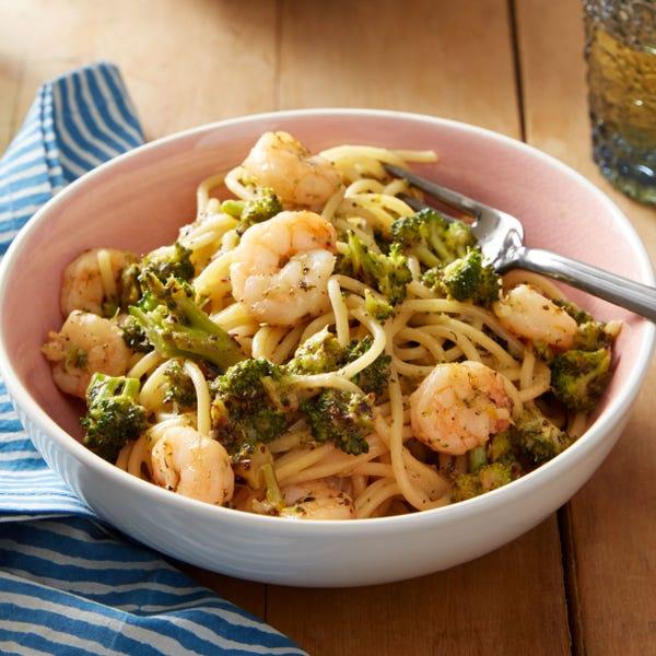 Creamy Shrimp Spaghetti with Broccoli & Meyer Lemon
