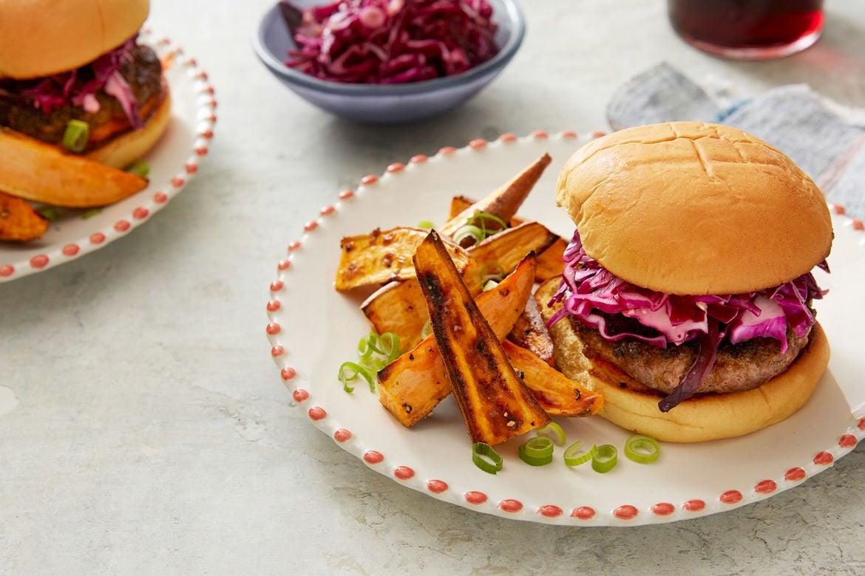 Blue apron lemongrass burger - Burgers Red Cabbage Slaw With Sriracha Mayo Roasted Sweet Potato