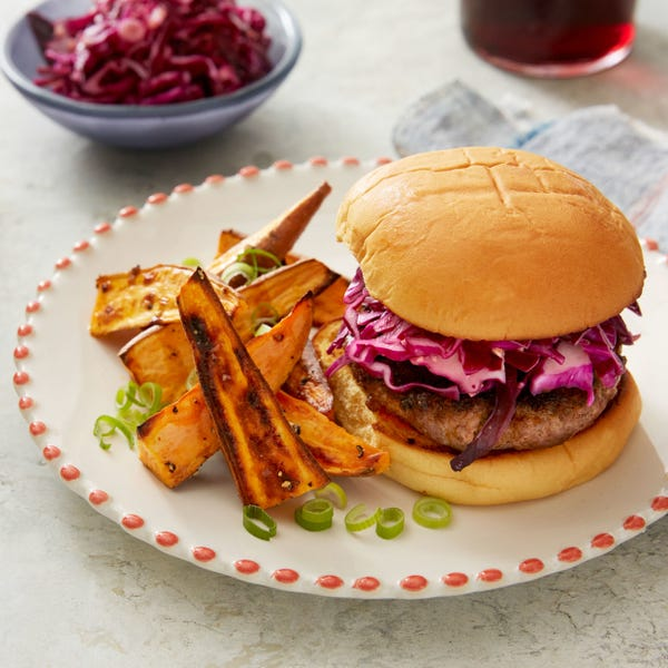 Burgers & Red Cabbage Slaw with Sriracha Mayo & Roasted Sweet Potato