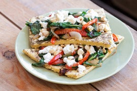 Socca Chickpea Flatbread Topped with Bell Pepper, Onion & Dandelion Greens