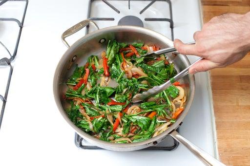 Add the dandelion greens: