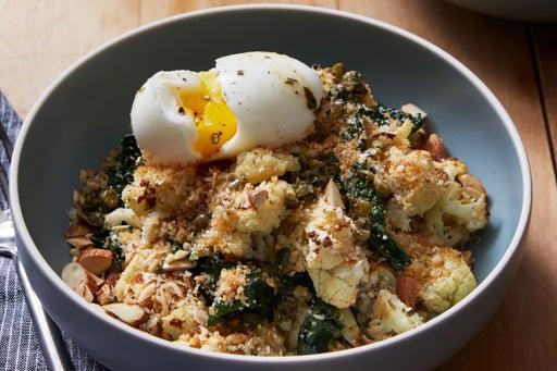 Warm Cauliflower & Kale Salad with Soft-Boiled Eggs & Sauce Meunière