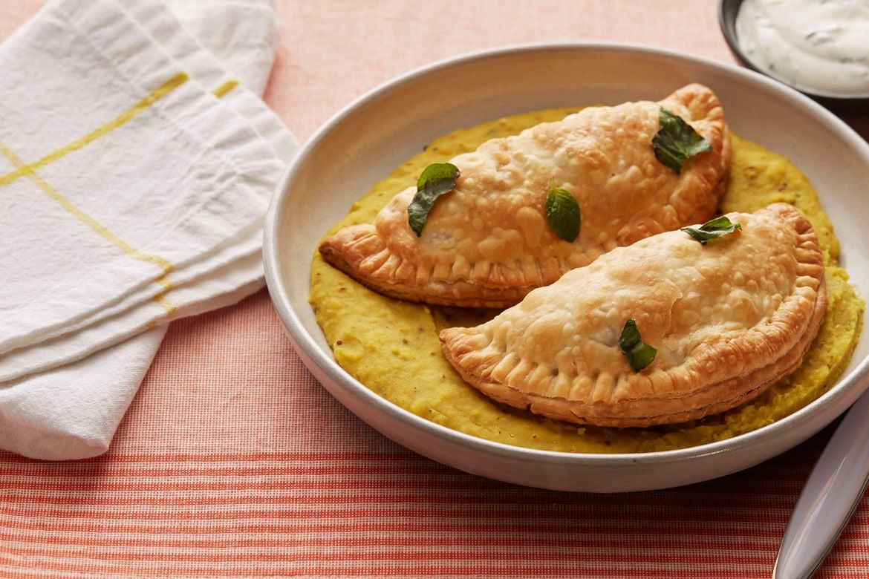 : Potato & Broccolini Samosas with Coconut Lentils & Yogurt Sauce ...