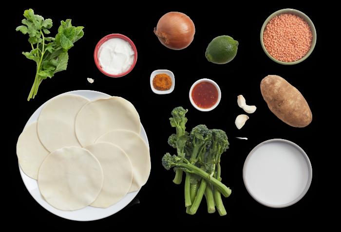 Potato & Broccolini Samosas with Coconut Lentils & Yogurt Sauce