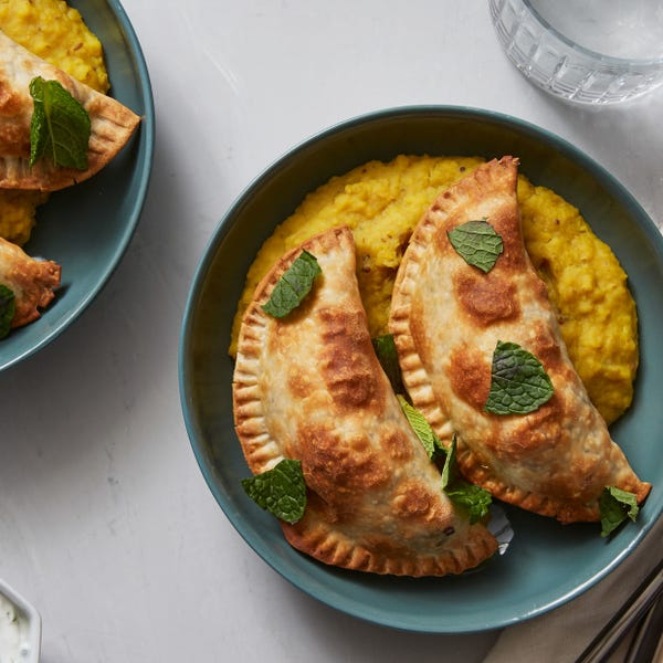 Potato & Broccolini Samosas with Coconut Lentils & Yogurt Sauce