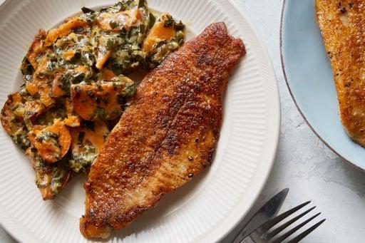 Blackened Cajun Catfish with Sweet Potato & Collard Green Gratin