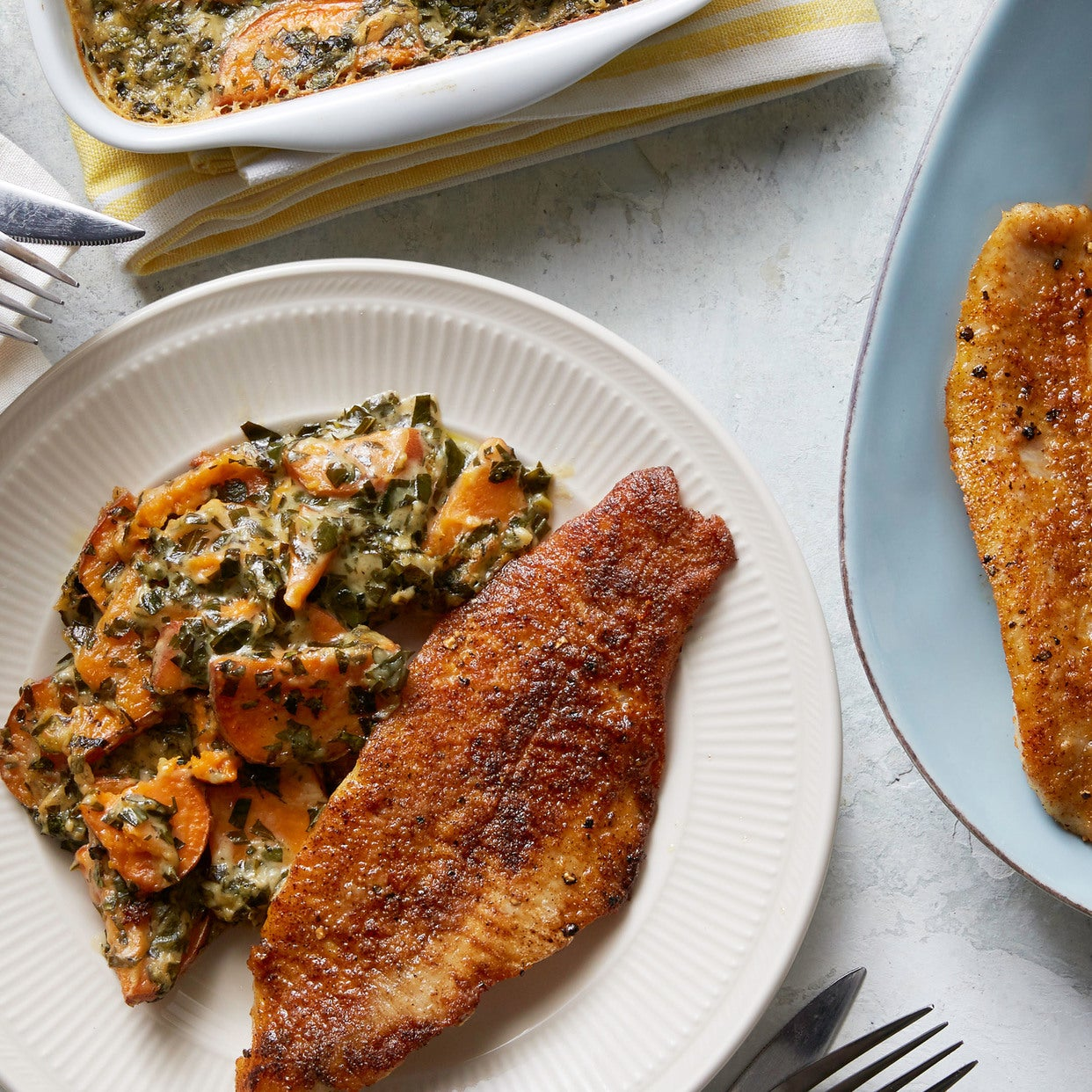 Blackened Cajun Catfish with Sweet Potato & Collard Green Gratin