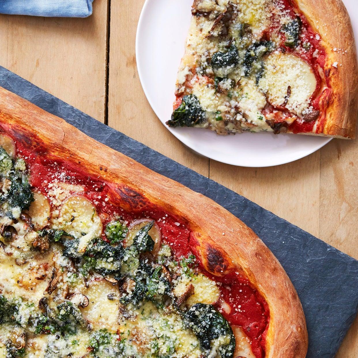 Mushroom & Potato Pizza with Fontina Cheese, Spinach & Garlic Oil