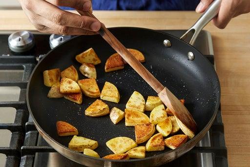 Brown the potato: