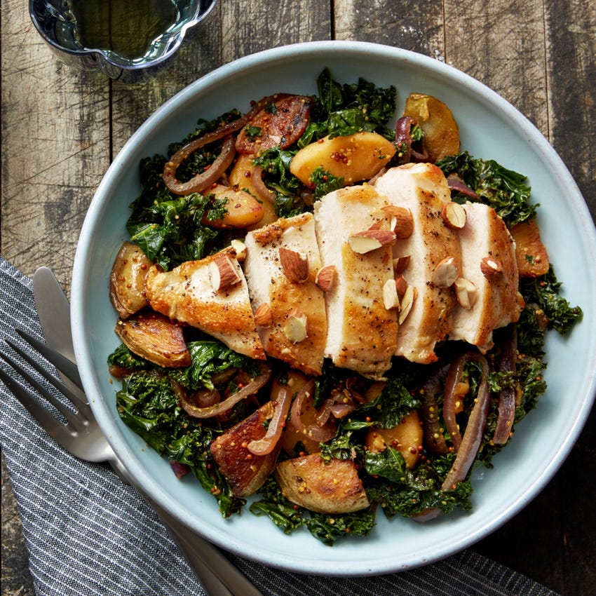 Seared Chicken & Pan Sauce with Apple, Kale & Potato Hash