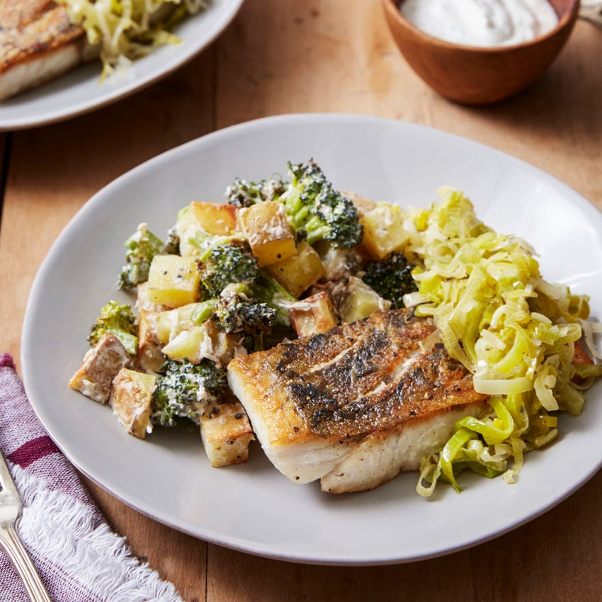 Crispy Barramundi with Melted Leek & Roasted Vegetables