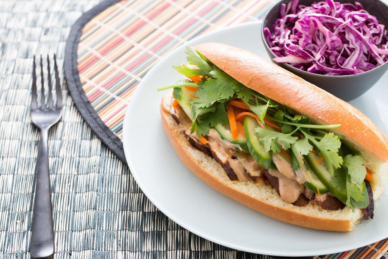 Chicken Bánh Mí with Pickled Vegetables & Sesame Cabbage Salad