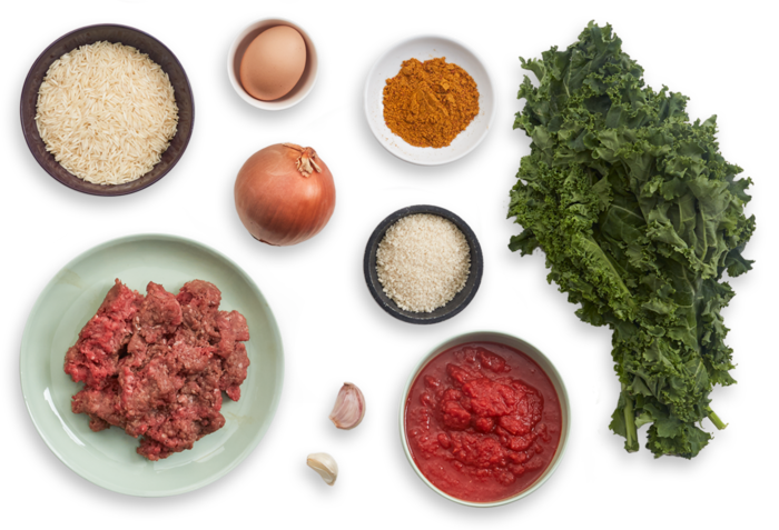 Egyptian Meatballs with Spicy Tomato Sauce, Kale & Rice ingredients