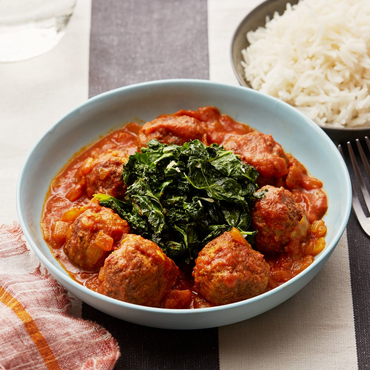 Egyptian Meatballs with Spicy Tomato Sauce, Kale & Rice