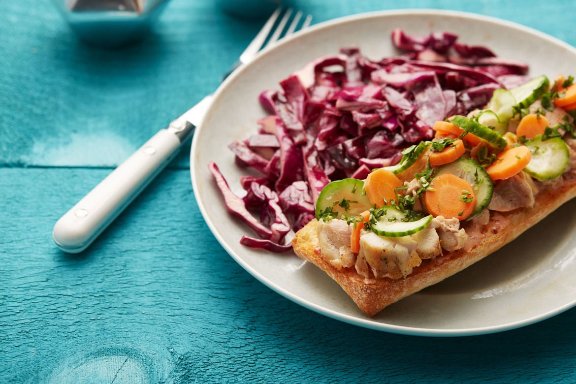 Open-Faced Spicy Chicken Bánh Mì with Sesame Cabbage Slaw