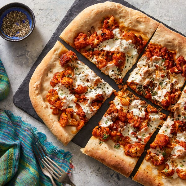 Sicilian Cauliflower Pizza with Fresh Mozzarella & Oregano
